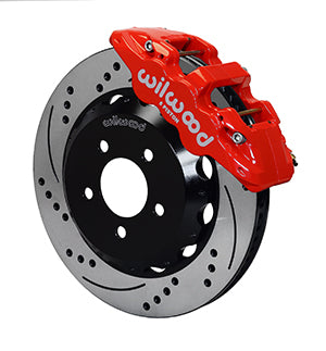 Wilwood BMW 330i AERO6 Front Big Brake Kit Red Caliper Drilled & Slotted Rotors