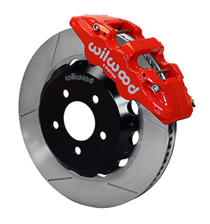 Wilwood BMW 330i AERO6 Front Big Brake Kit Red Calipers Slotted Rotors