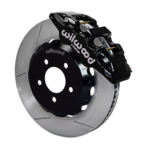 Wilwood BMW 330i AERO6 Front Big Brake Kit Black Calipers Slotted Rotors
