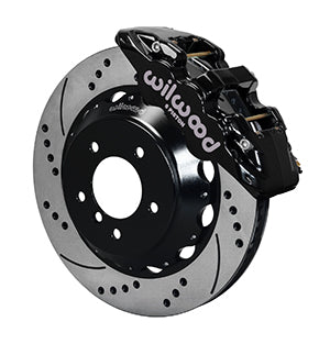 Wilwood BMW 335i AERO6 Front Big Brake Kit Black Calipers Drilled & Slotted Rotors