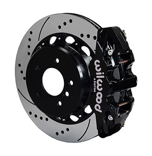 Wilwood BMW 328i AERO4 Big Brake Rear Brake Kit For OE Parking Brake Black Calipers Drilled & Slotted Rotors