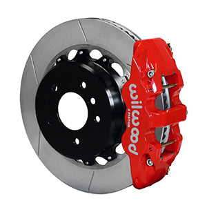 Wilwood BMW 328i AERO4 Big Brake Rear Brake Kit For OE Parking Brake Red Calipers Slotted Rotors