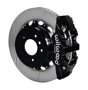 Wilwood BMW 328i AERO4 Big Brake Rear Brake Kit For OE Parking Brake Black Calipers Slotted Rotors