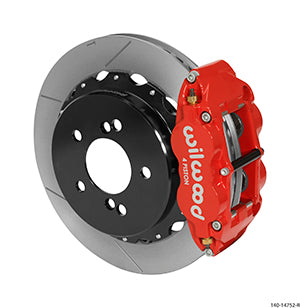 Wilwood BMW M3 Forged Narrow Superlite 4R Big Brake Rear Brake Kit For OE Parking Brake Red Calipers Slotted Rotors