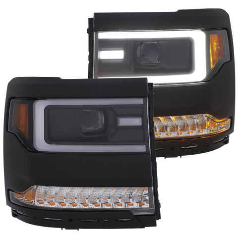 2016-2018 Chevrolet Silverado 1500 Headlights - Projector Plank Style - SEQ Turn Signal (Black & Amber)