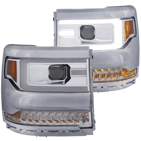 2016-2018 Chevrolet Silverado 1500 Headlights - Projector Plank Style - SEQ Turn Signal (Chrome & Amber)