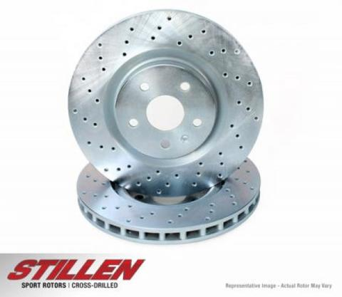 2005-2014 Ford Mustang Front Cross Drilled 1-Piece Sport Rotors (Set of 2) SKU# FOR1400X
