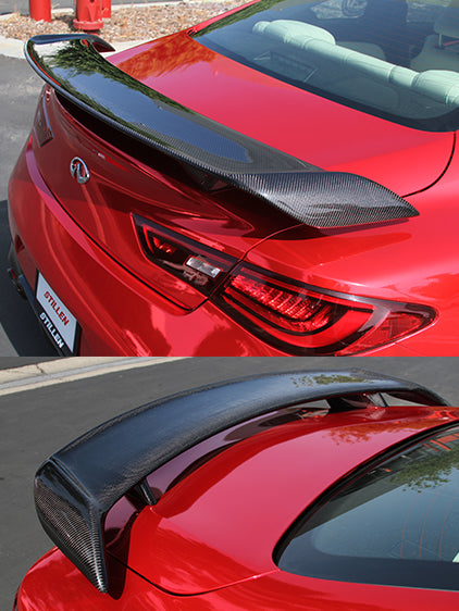Rolling Gears Real Carbon Fiber Trunk Spoiler Wing Compatible with 2017-20 Infiniti Q60 Q60S Coupe CV37 D-Style