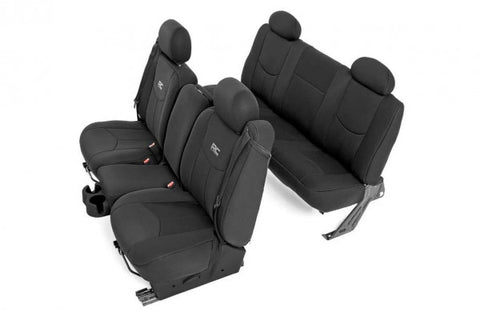 1999-2007 Chevrolet Silverado Seat Covers - 1500 (NON GMC Models) Front & Rear Black Neoprene - Rough Country 91015