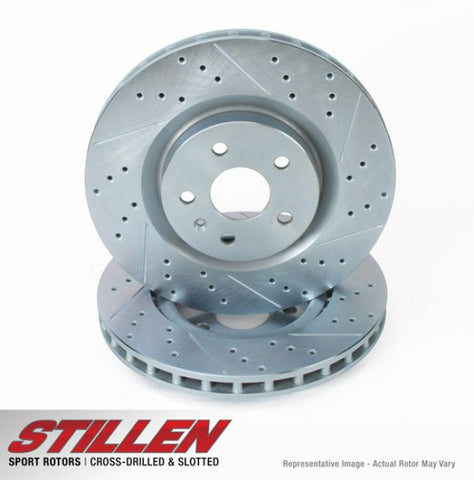 STILLEN Impreza WRX STi Rear Cross Drilled & Slotted 1-Piece Sport Rotors SUB130