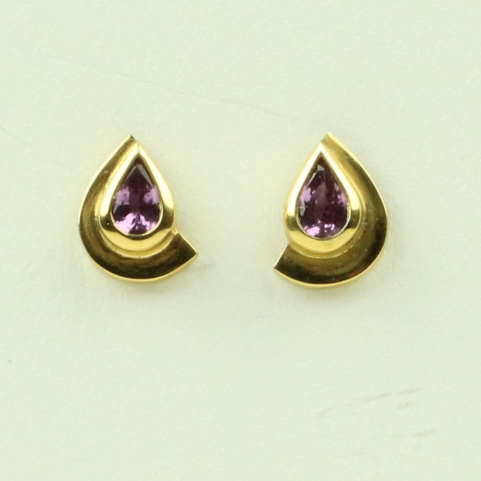 Stud Earrings with Pink Sapphires