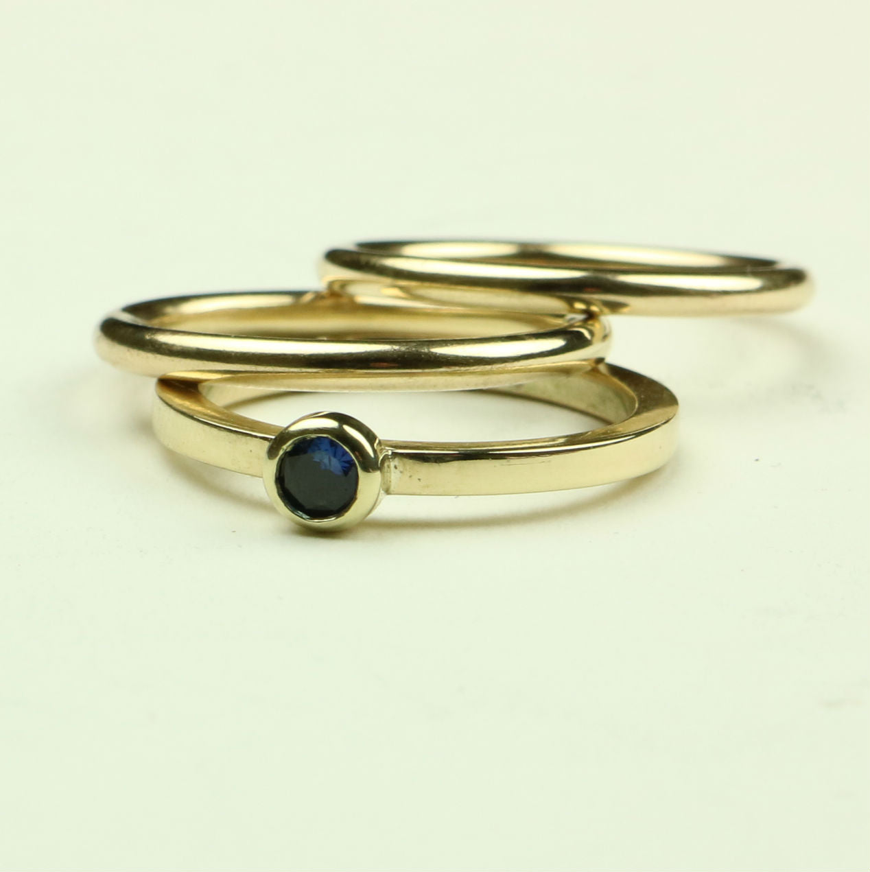 Gold Rings with Sapphire