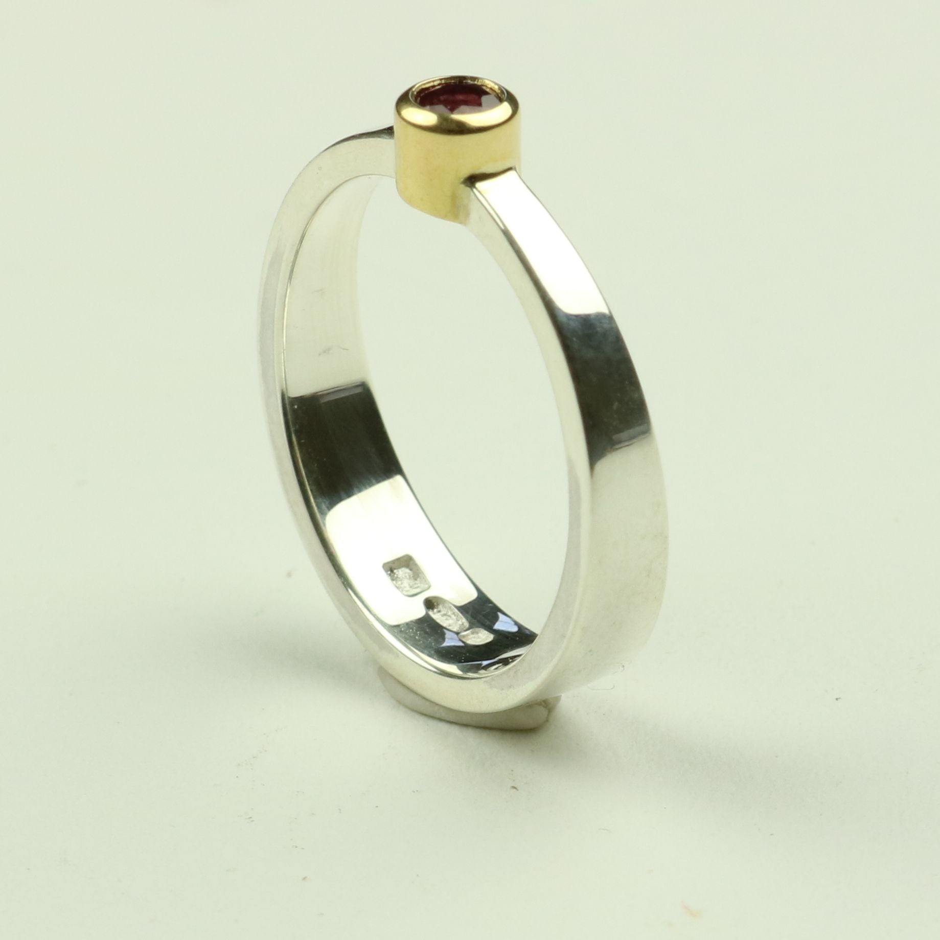 Taper Ring in Silver and Gold with Ruby