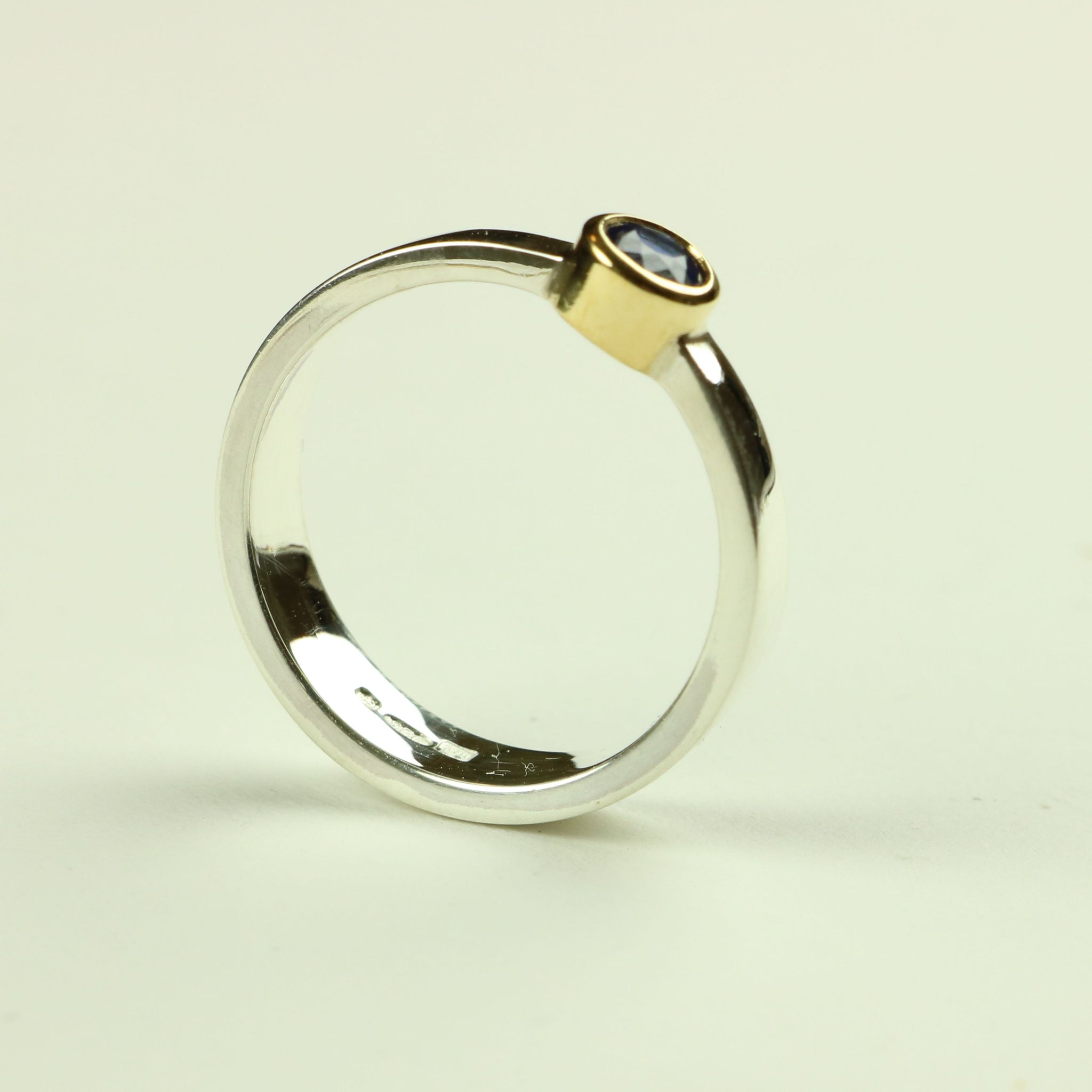 Taper Ring in Silver and Gold with Blue Sapphire