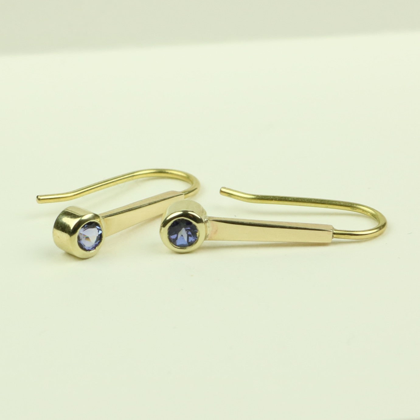 Gold Drop Earrings with Tanzanite