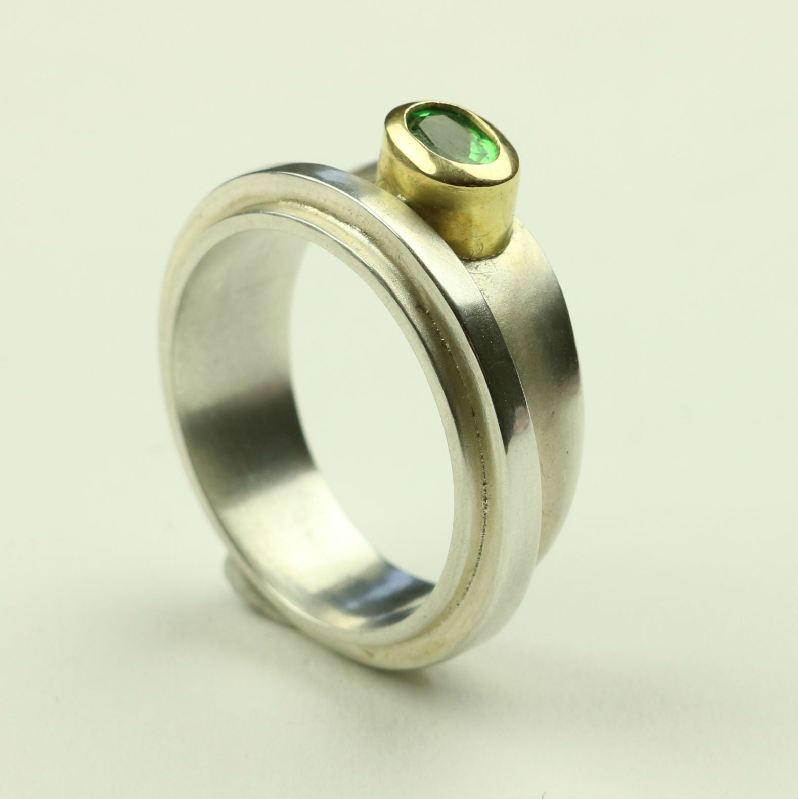 Taper Ring in Silver and Gold with Tsavorite