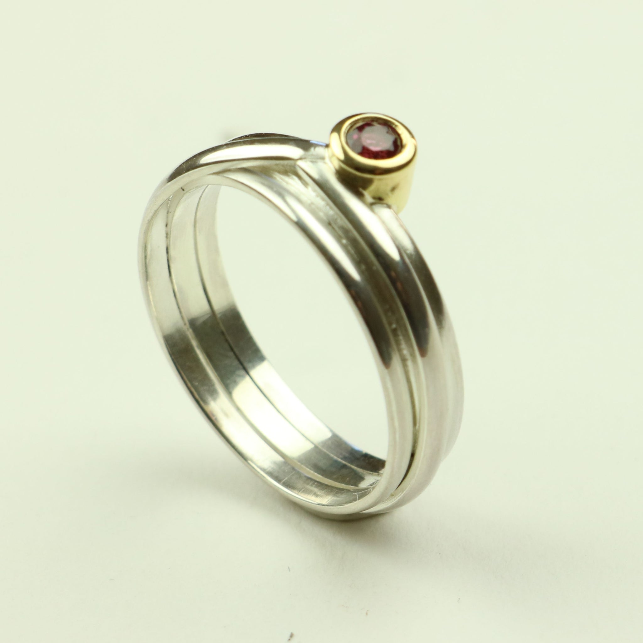 Wrap Ring in Silver and Gold with Ruby