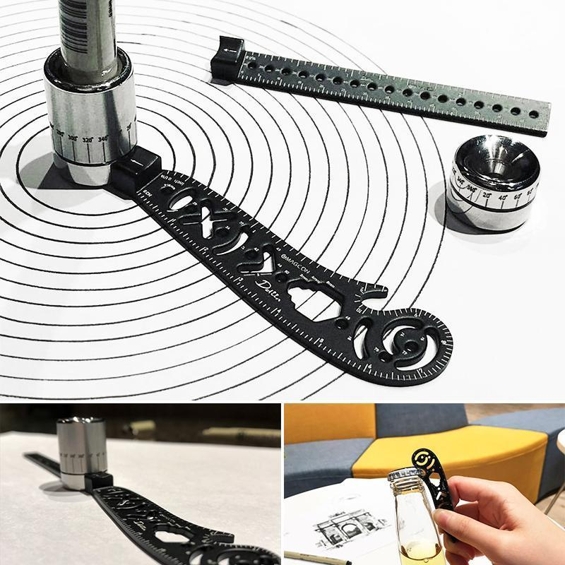 Domom All in One Multi-Function Drawing Tool Versatile Metallic Ruler