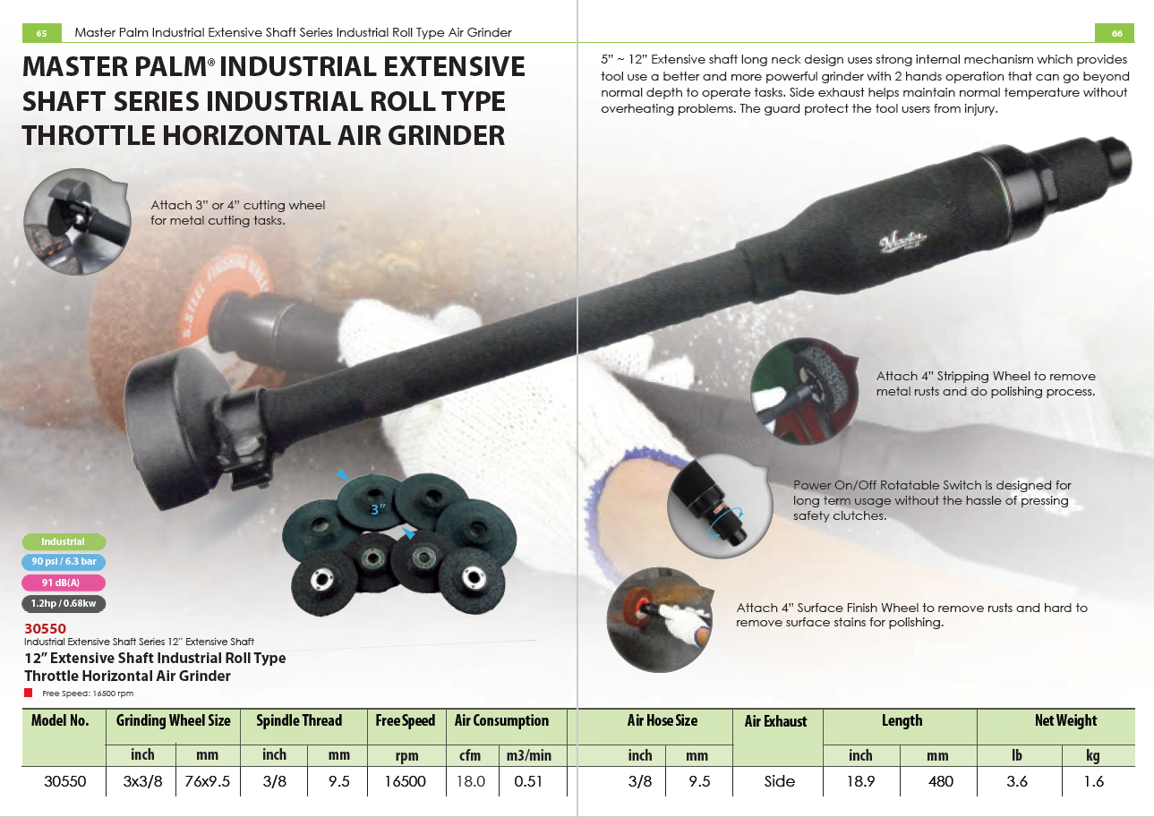 MASTER PALM INDUSTRIAL EXTENSIVE SHAFT SERIES INDUSTRIAL ROLL TYPE THROTTLE HORIZONTAL AIR GRINDER
