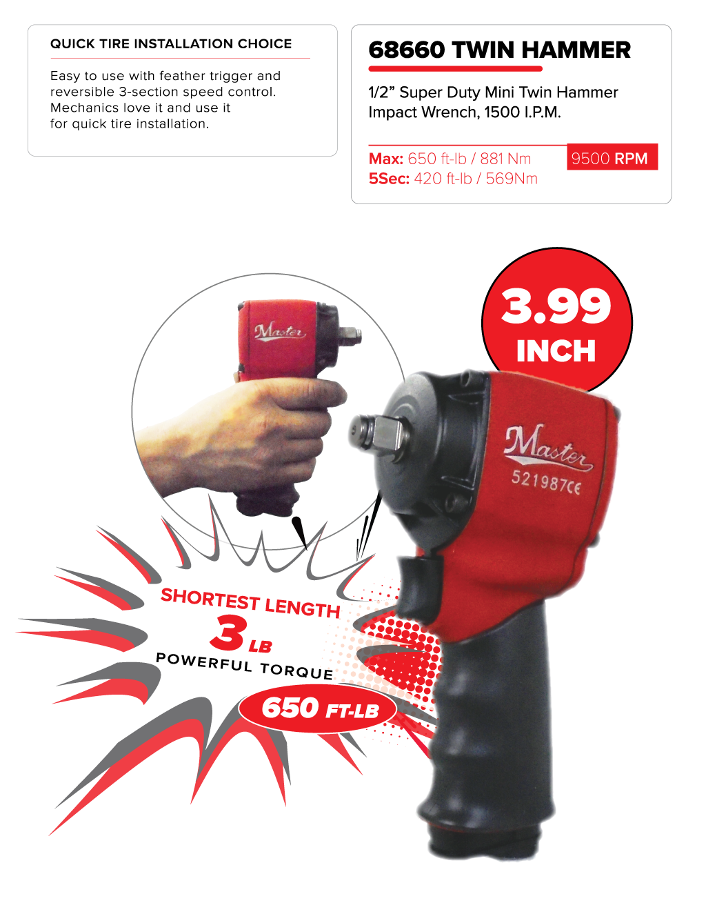 Master Palm® 1/2 Ultra Compact Air Impact Wrench - 650 Ft/lb - 881 Nm/Backorder