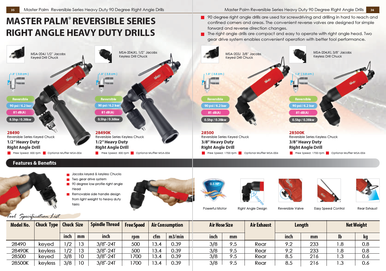 Master Palm Reversible Series Heavy Duty 90 Degree Right Angle Drills