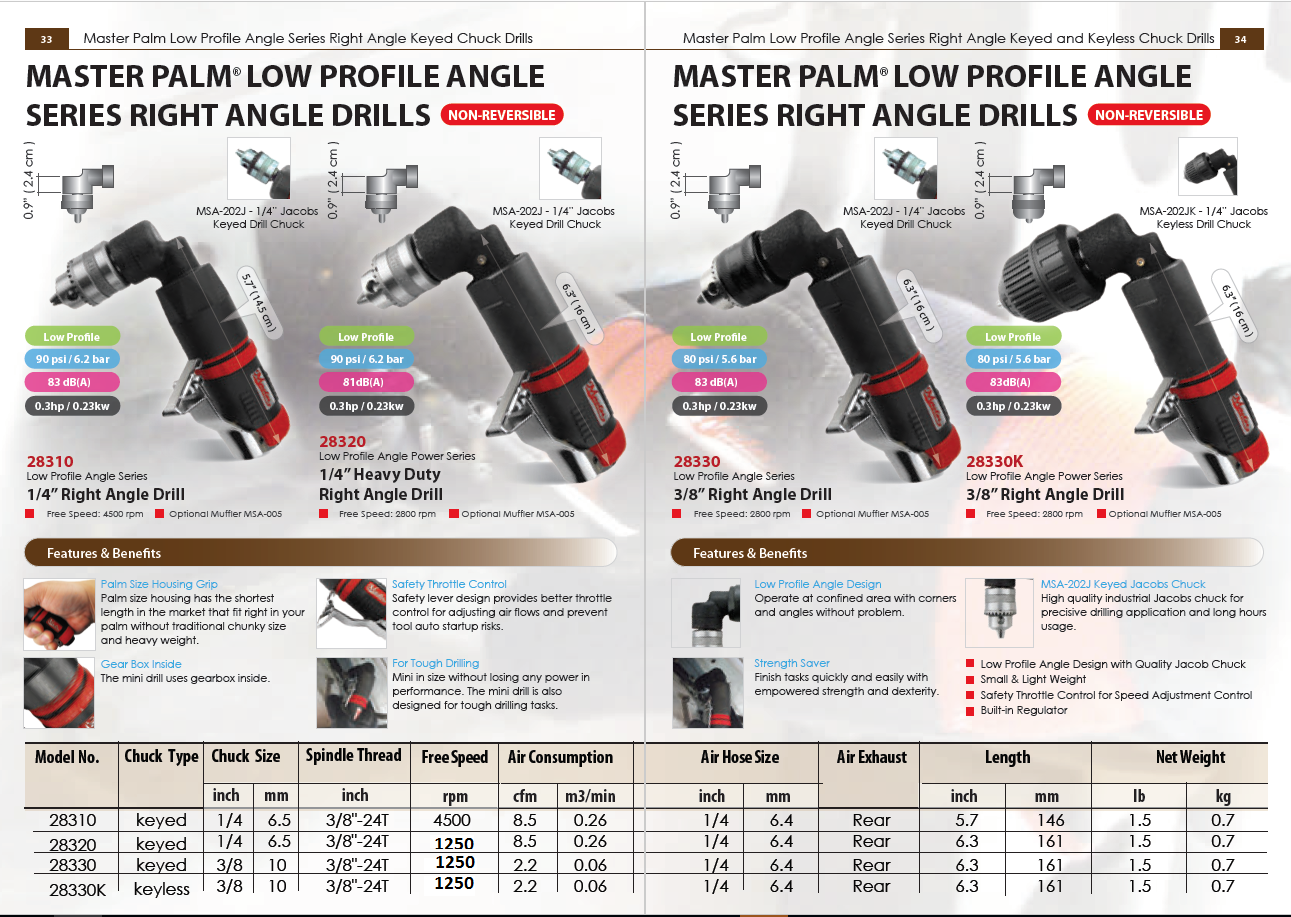 Master Palm Low Profile Angle Series Right Angle Keyed Chuck Drills