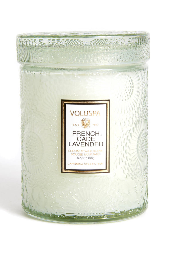FRENCH CADE LAVENDER 5.5 OZ SMALL EMBOSSED GLASS JAR CANDLE