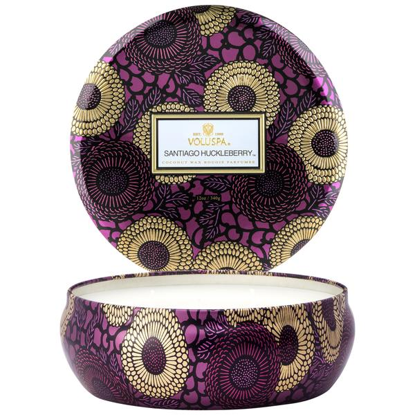SANTIAGO HUCKLEBERRY 3 WICK CANDLE IN DECORATIVE TIN