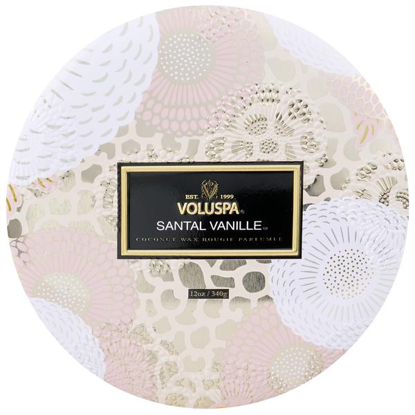 SANTAL VANILLE 3 WICK CANDLE IN DECORATIVE TIN