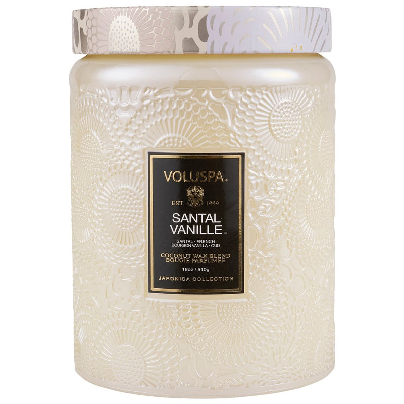 SANTAL VANILLE LARGE EMBOSSED GLASS JAR CANDLE