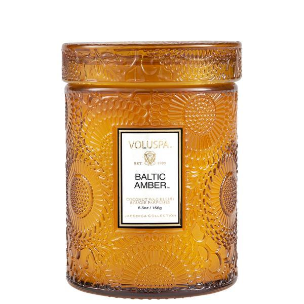 BALTIC AMBER 5.5 OZ SMALL EMBOSSED GLASS JAR CANDLE