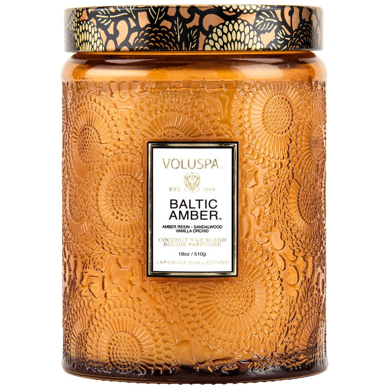 BALTIC AMBER LARGE EMBOSSES GLASS JAR CANDLE