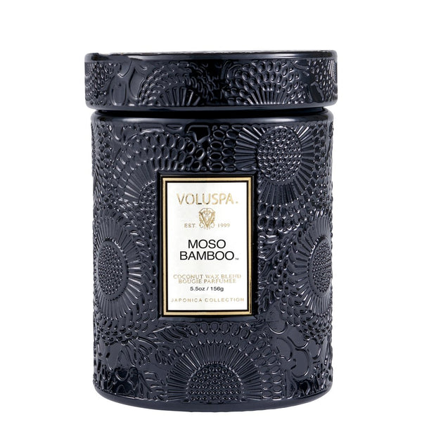 MOSO BAMBOO 5.5 OZ SMALL EMBOSSED GLASS JAR CANDLE