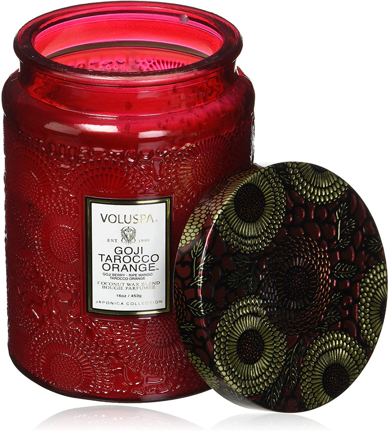 GOJI TAROCCO ORANGE LARGE EMBOSSED GLASS JAR CANDLE