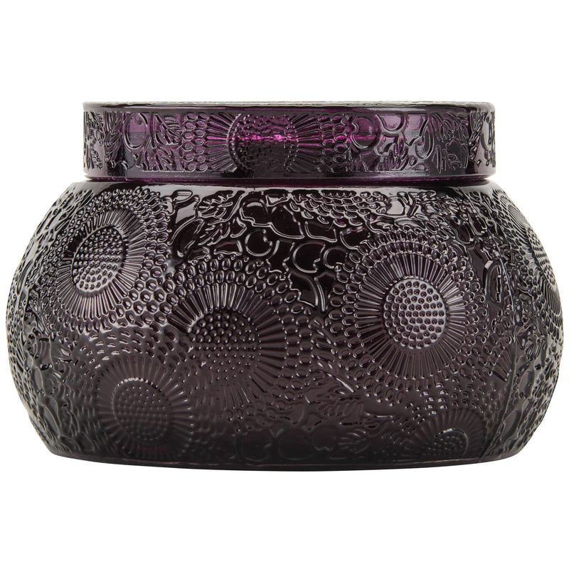 SANTIAGO HUCKLEBERRY  EMBOSSED GLASS CHAWAN BOWL W/LID