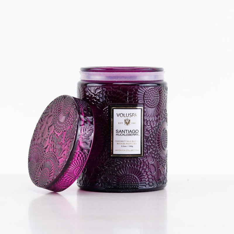 SANTIAGO HUCKLEBERRY 5.5 OZ SMALL EMBOSSED GLASS JAR CANDLE