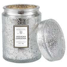 YASHIOKA GARDENIA 5.5 OZ SMALL EMBOSSED GLASS JAR CANDLE