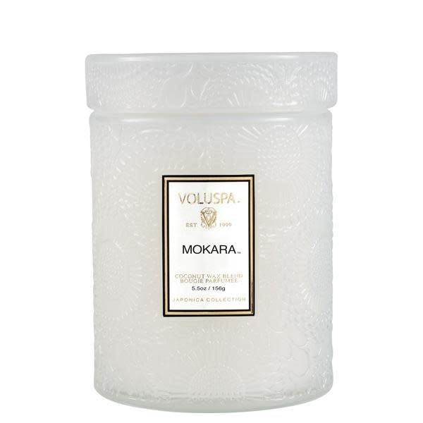 MOKARA 5.5 OZ SMALL EMBOSSED GLASS JAR CANDLE