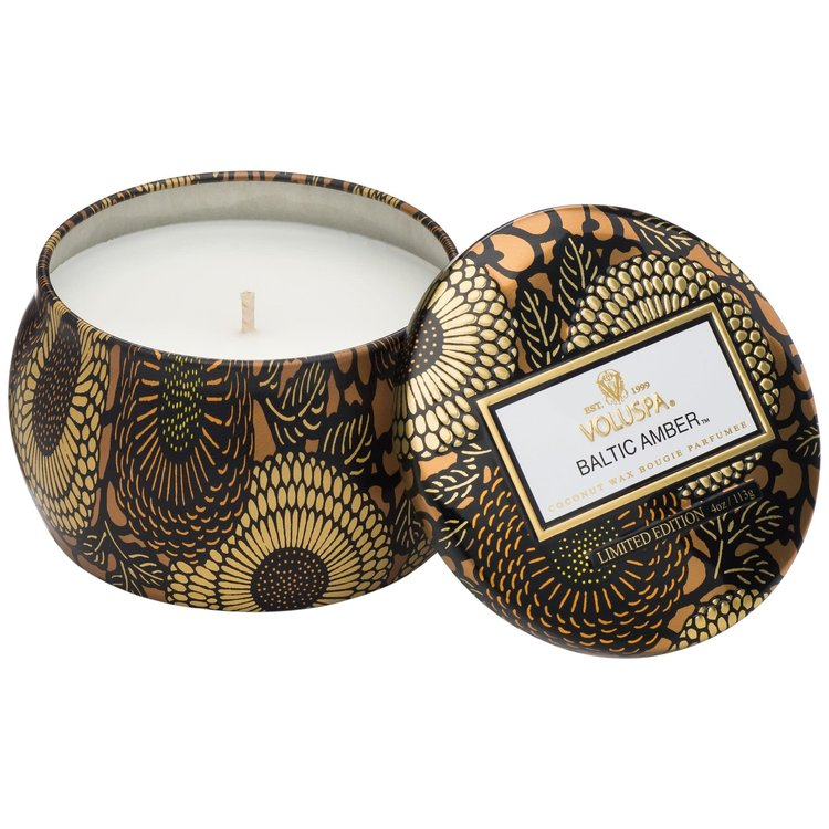 BALTIC AMBER MINI DECORATIVE TIN CANDLE