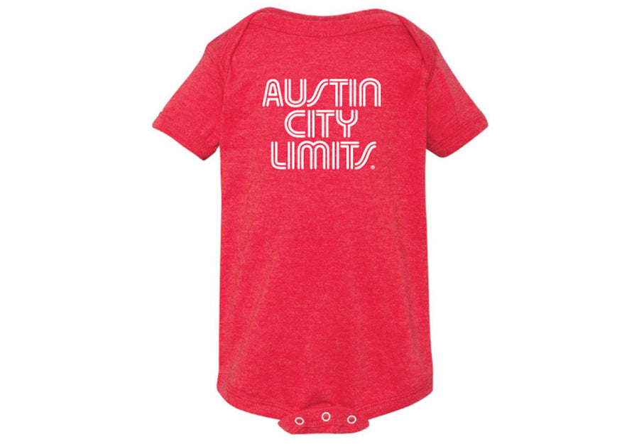 ACL Onesie White on Vint. Red Shirt