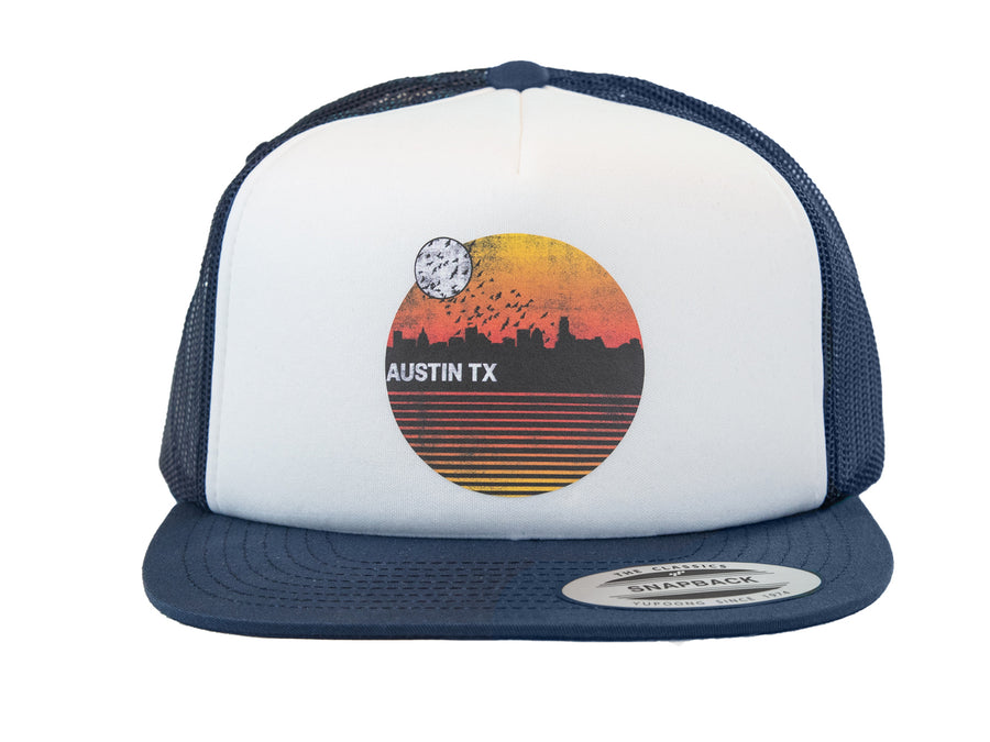 Retro Sunset Snapback Hat (Blue)