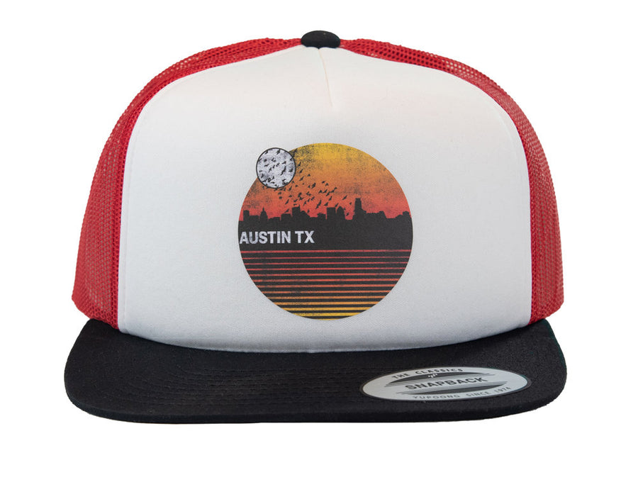 Retro Sunset Snapback Hat (Red)