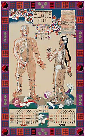 Illustrated Acupuncture Energy Chart Poster