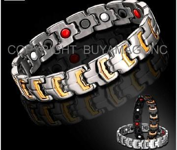 Magnetic Bracelets Stainless Steel or Titanium With: Magnets Germanium Negative Ions Infrared Properties 4 IN 1