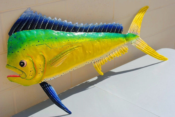 "Dorado Fish Wall Mount Metal Replica Decor 57"" 48"" 30"" Long 3D"