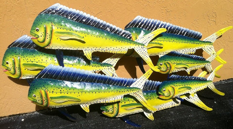 "Dorado Fish Scene Wall Mount Metal Replica Decor 30"" x 57"" Long 3D 7 fish in one"