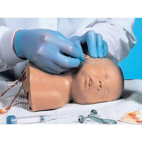 Pediatric Infant  Head Infusions Venipuncture in Temporal Jugular Veins Training of a New-Born to 12 Month - Old Infant
