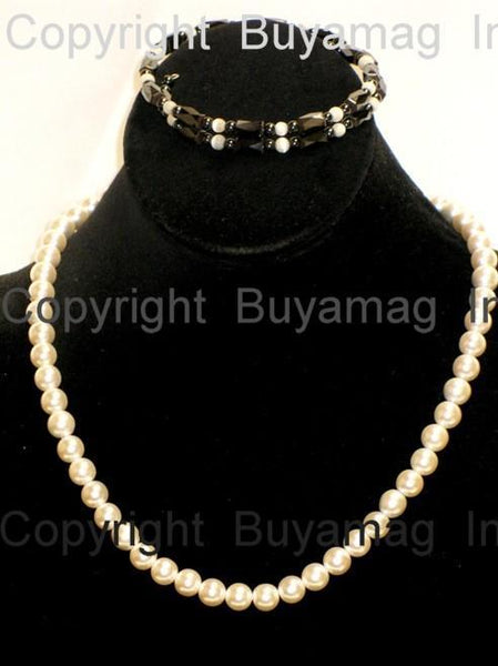 Magnetic Necklace Pearl Bracelet Set