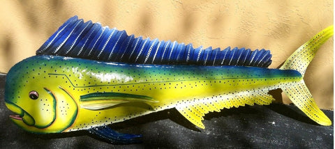 "Mahi-Mahi Fish Wall Mount Metal Replica Decor 60"" or 48"" Long 3- D"