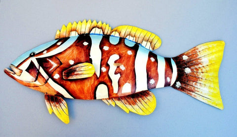 "Grouper Fish Wall Mount Metal Replica Decor 33"" or 25"" Long 3D"